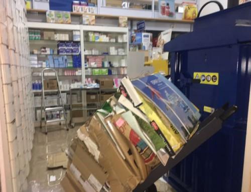 Compactadora de cartón para farmacia